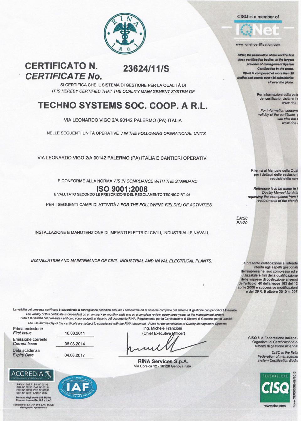 Certificazione Techno Systems